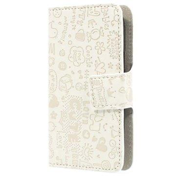 Samsung Galaxy Fresh S7390 Cartoon Læder Taske - Hvid MTP Products til  - MediaNyt.dk