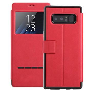 View Window Samsung Galaxy Note 8 Smart Flip Cover - Rød